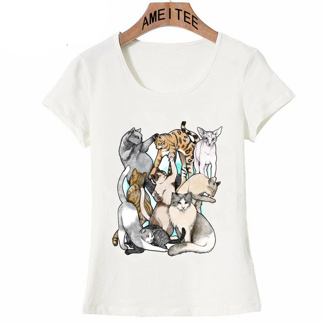 e61b3e0f Cute Pets a pile Cat Love T-Shirt Summer Women T-shirt Casual Tops I love  my friend Kitten Design Tees Women's T-shirt