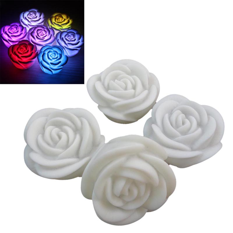 New Festival Party Romantic Atmosphere Changing Color LED Floating Rose Flower Candle Night Light Wedding Decoration HR