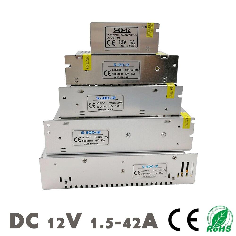 Dc 12 v fonte de alimentação led tiras iluminação transformador driver interruptor smps adaptador ac 110 220 v 2a 3a 6.5a 10a 15a 25a 30a 33a 42a
