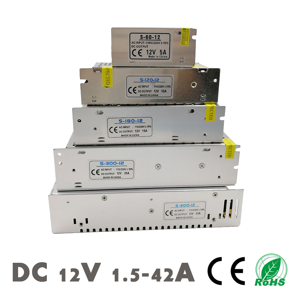 DC <font><b>12V</b></font> <font><b>Power</b></font> <font><b>Supply</b></font> LED Strips Lighting Transformer Driver Switching SMPS Adapter AC 110~220V 2A 3A 6.5A 10A 15A <font><b>25A</b></font> 30A 33A 42A image