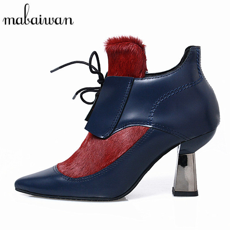 Mabaiwan Horsehair Patent Leather Women Lace Up Ankle Boots Pointed Toe Shoes Woman Chunky High Heels Botines Mujer Women Pumps fall flat black waterproof 2017 women shoes retro front lace up casual ankle boots autumn patent leather chunky booties vintage
