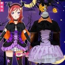 Nuevo Anime Love Live! Maki Nishikino Cosplay Vampiro Bruja de Halloween Little Devil Ropa Conjunto Completo (Vestidos + Shawl + Headwear + Bow-kn