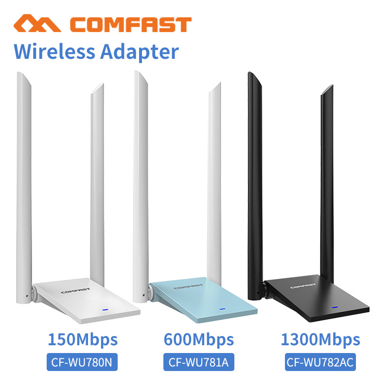 PC adaptador Wifi USB 3,0 Lan Dongle 2 * 6dbi antena 802.11ac 150-1300 Mbps doble banda Wifi receptor tarjeta de red para PC portátil