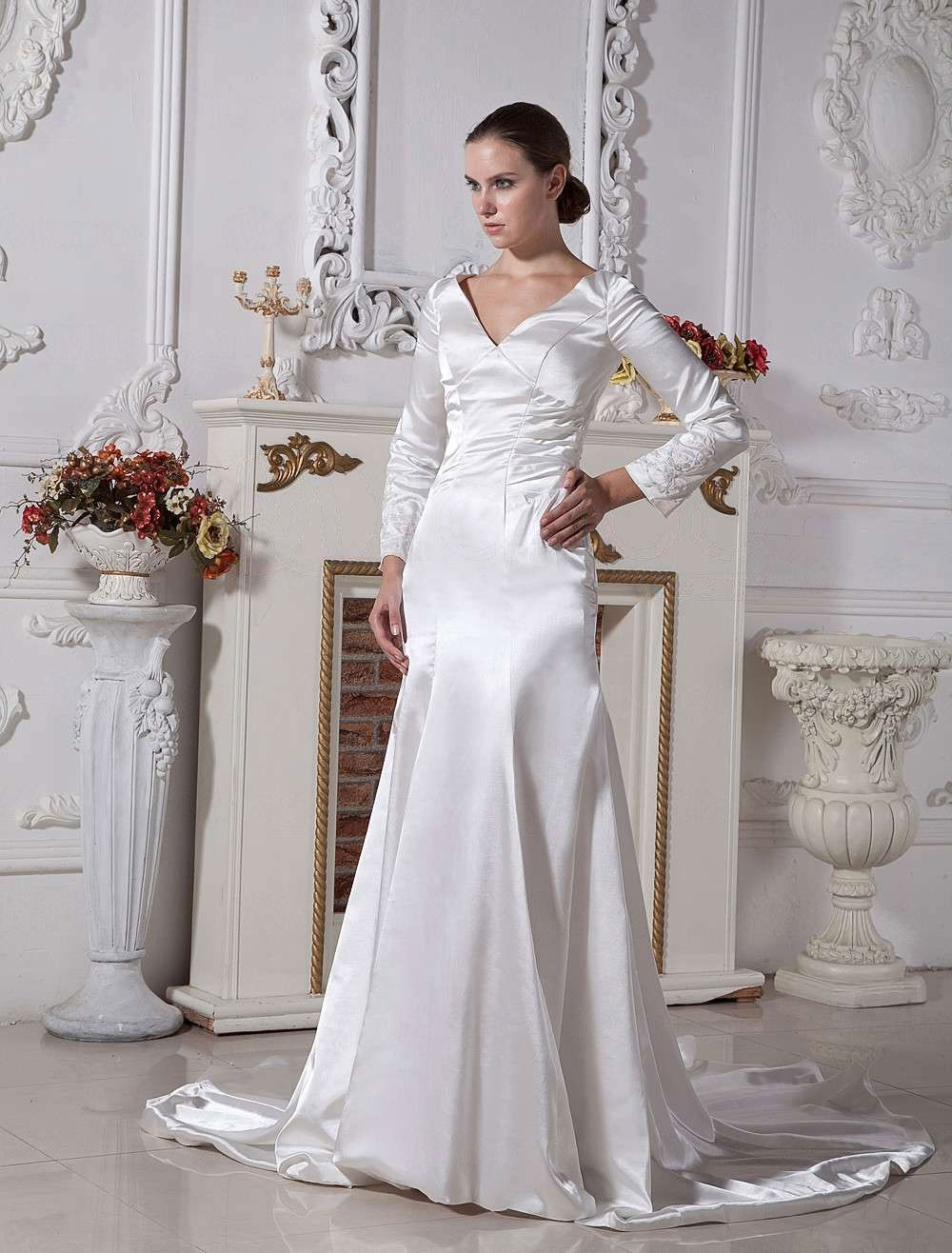 Ivory Elastic Woven Satin V Neck Sheath Twilight Bella Swan Style Wedding Dress: Twilight Bella Swan Wedding Dress At Websimilar.org