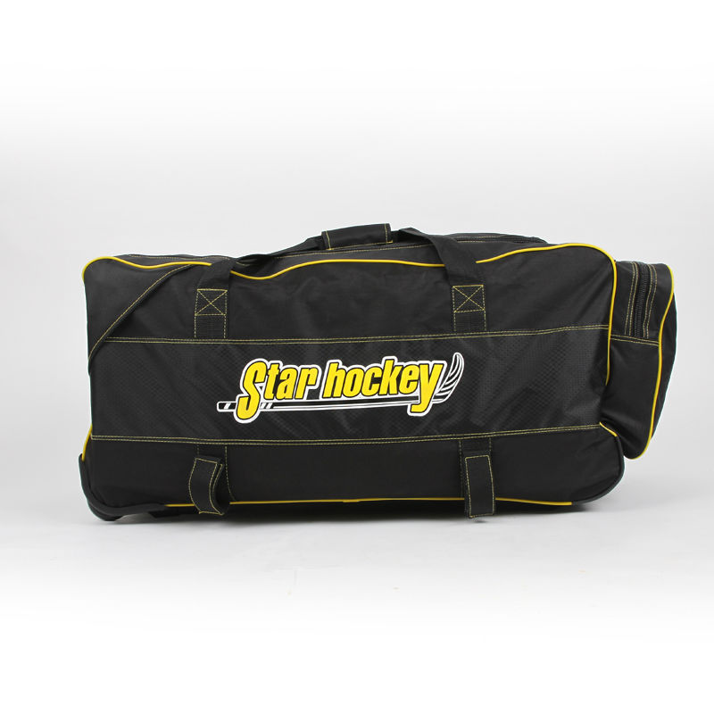 free shipping ice hockey bag equipment bag oversize trolley bag black color M size 77x40x40 cm ce certificate hockey mask ice hockey helmet for player free shipping