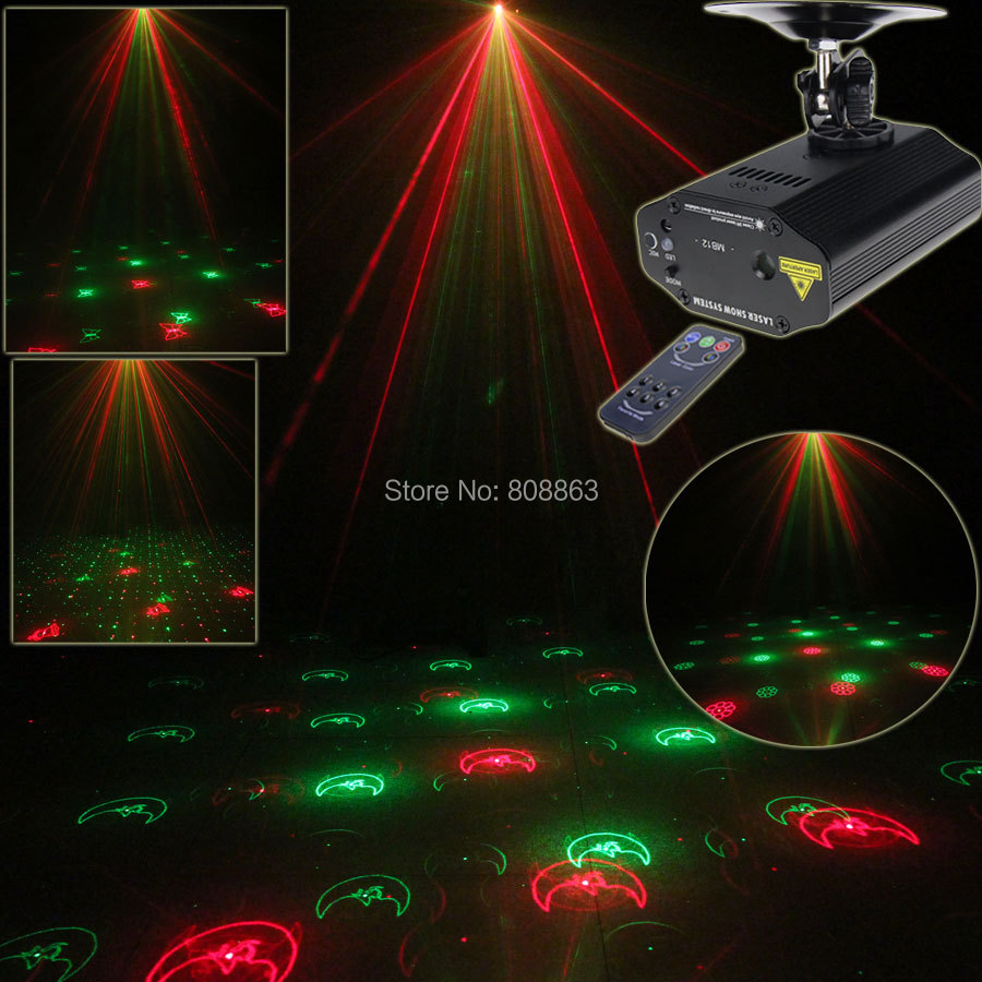 New High Quality Mini R&G Laser 12 Patterns Xmas Projector Dance Disco Bar Family Party Stage Lights DJ lighting Light Show T10