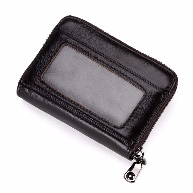 62ebb2314fb4a VICUNA POLO Brand Waxy Oil Genuine Leather Card Holder Zipper Open Cowhide  Credit Card Holder High