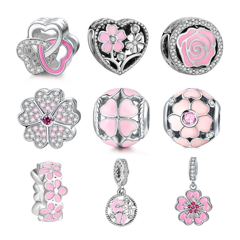 DALARAN Pink Flowers Series DIY Charms 925 Sterling Silver Beads Charm Fit Original Pandora Bracelets For Women Jewelry Making