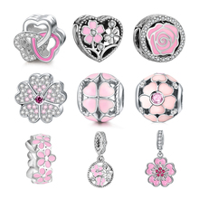 DALARAN Pink Flowers Series DIY Charms 925 Sterling Silver Beads Fit Bracelets Necklaces For Women Jewelry Valentine Day Gift
