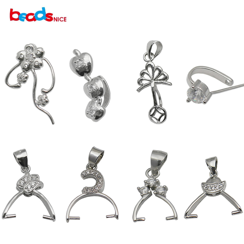 sterling silver 925 pendant clip pinch bail findings jewelry connector pendantt necklace clasps ID 34628