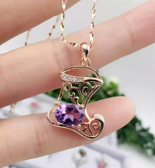 natural amethyst pendant S925 silver Natural  crystal Pendant Necklace trendy Personality shoes women  girl  jewelrynatural amethyst pendant S925 silver Natural  crystal Pendant Necklace trendy Personality shoes women  girl  jewelry