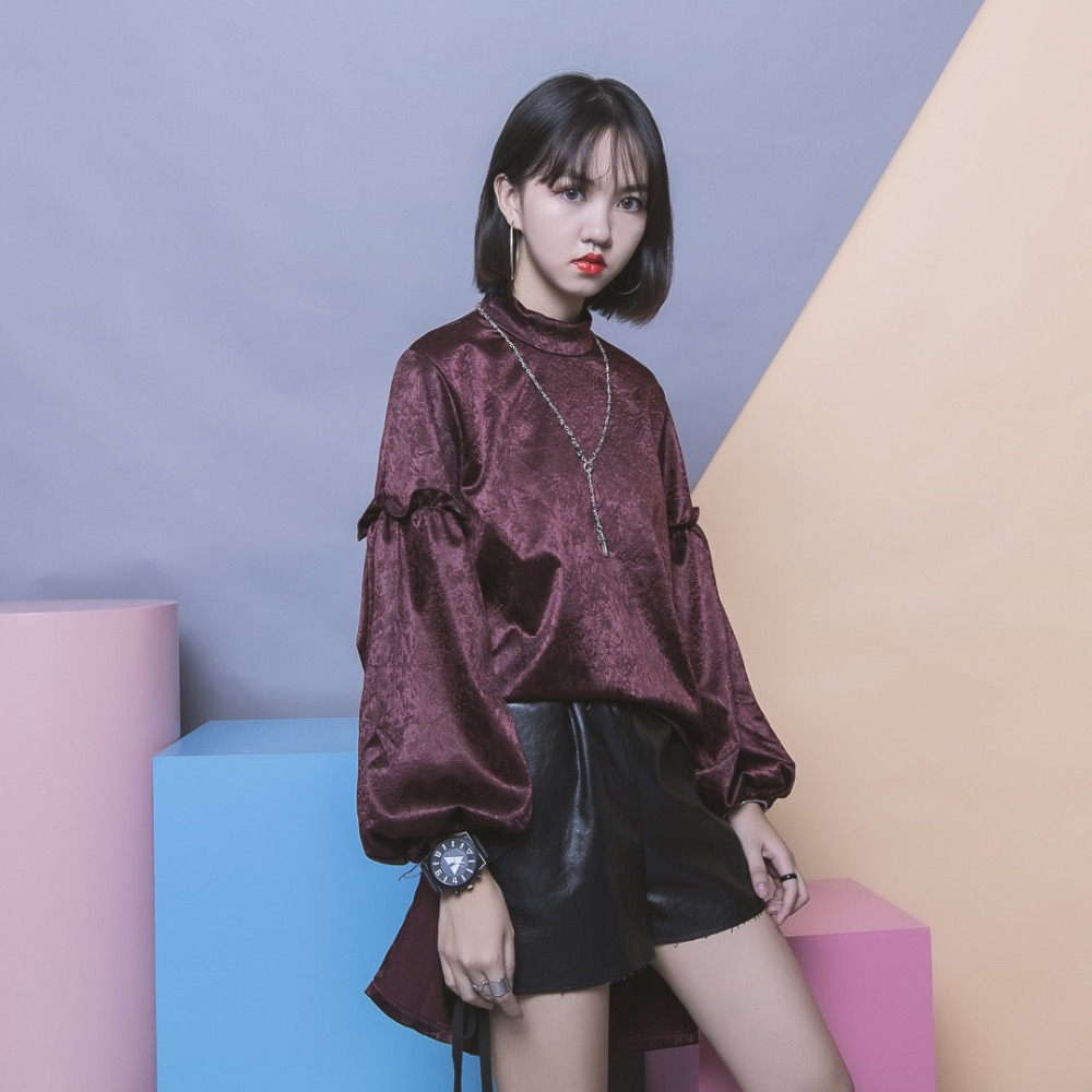 Solid color all match patchwork pleated lantern low high elegant long sleeve turtleneck t shirt female