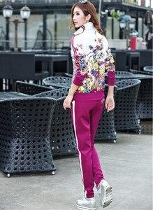 Image 3 - Più il Formato L 6XL Tuta A Due Pezzi Abiti Delle Donne Top A Manica Lunga e Pantaloni Lunghi di Modo di Autunno Stampa Floreale Delle Donne Set sportwear