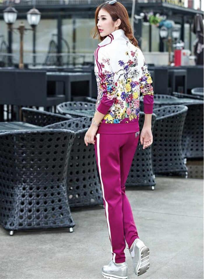 Plus Size L-5XL Trainingspak Tweedelige Outfits Vrouwen Lange Mouw Top en Lange Broek Herfst Mode Bloemenprint Vrouwen Set sportwear
