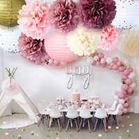 NICROLANDEE New 12Pcs/Set Paper Honeycomb Ball Lantern Flower PomPomWedding Birthday Party Decoration DIY Decor