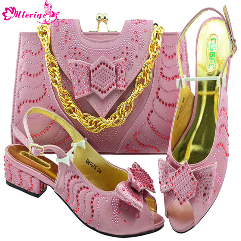 MM1075-PINK Newest African Style shoes and bag sets Italian shoe with matching bag TOP selling shoes and bags to match 2018 new arrival pink color italian shoe with matching bags shoes and bag set african sets 2018 shoe and bag italian design sets