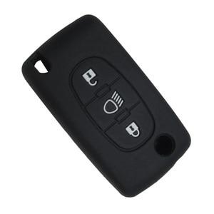 Image 4 - OkeyTech 3 düğmeler yumuşak silikon kauçuk araba anahtar kapağı kılıfı kabuk cilt koruyucu Fob Citroen C2 C3 C4 Picasso Xsara C5 c6 C8