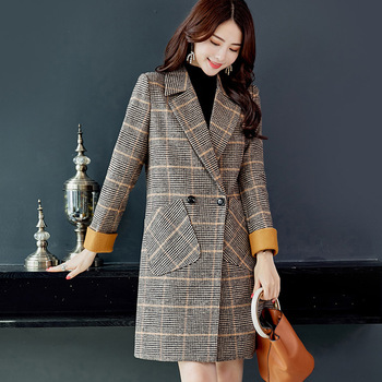 2019 Autumn Winter Wool Women Plaid Pockets Blends Office Work Long Coats Fashion Brand Lady Slim Lapel Long Sleeve Blends Sexy 3