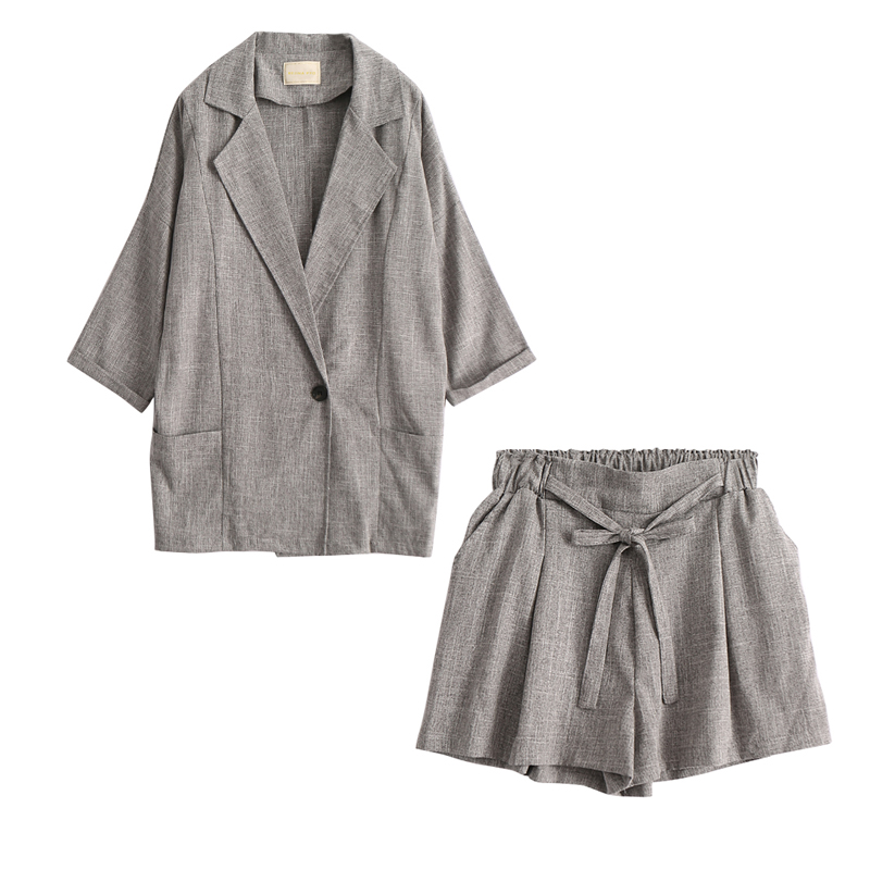 REJINAPYO European Style Office Lady Cotton Linen Grey Blazer Coat Female High Waist Drawstring Shorts Plus Size New Arrival