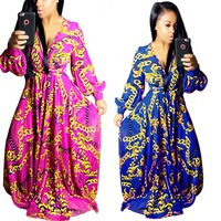 2017 Summer Traditional African Clothing Women Africaine Print Dashiki Dress African Clothes indian bazin riche femme SMR8369