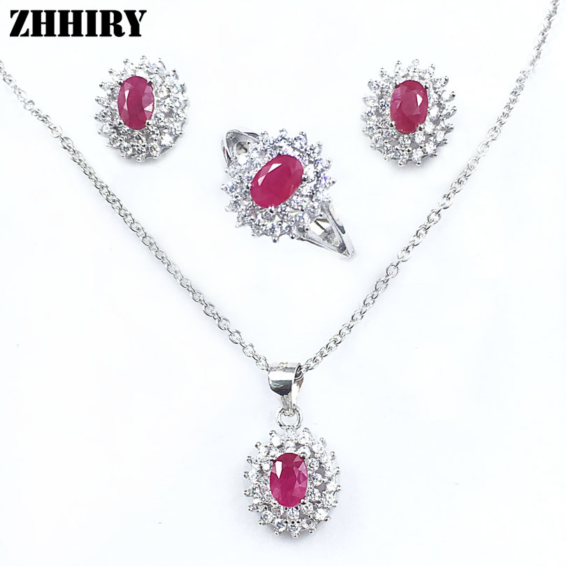 Natural Ruby Gemstone Jewelry Set Genuine solid 925 Sterling Silver Sets Women Ring Earrings Pendant Necklace frederique constant classics fc 225st5b5