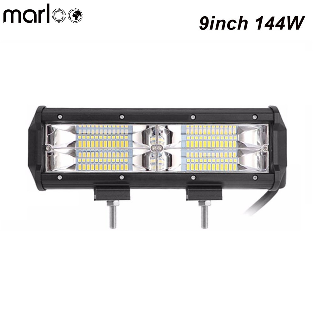 Marloo Straight 8.5 Inch 144W Led Light Bar 3000K & 6000K Leds For Off Road Jeep ATV AWD SUV 4WD 4x4 RZR Led Driving Fog Lights image