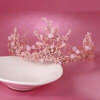 2016 New Handmade Hair Bands Headwear Wedding Crown Pink Flower Shape Crown Wedding Hair Accessories HG