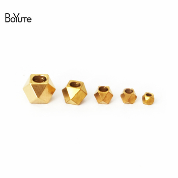 BoYuTe (100 Pieces/Lot) 2MM-2.5MM-3MM-4MM-5MM Metal Brass Square Spacer Beads Jewelry Making Diy Handmade Materials