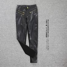 Export Korea western zipper decoration sexy elastic leather pants European Style American women leggings factory direct sale 069