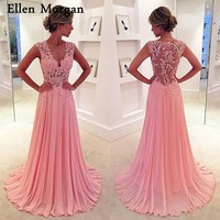 Sexy See Through Chiffon Prom Dresses 2018 Sale V Neck Floor Length Lace Long Vestido De Festa for Party Gowns for Women Wear