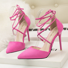 Ou Mo brand fashion sandals women's High heels 10cm Stiletto heel Suede Cross strap Female Solid color Sexy wedding shoe