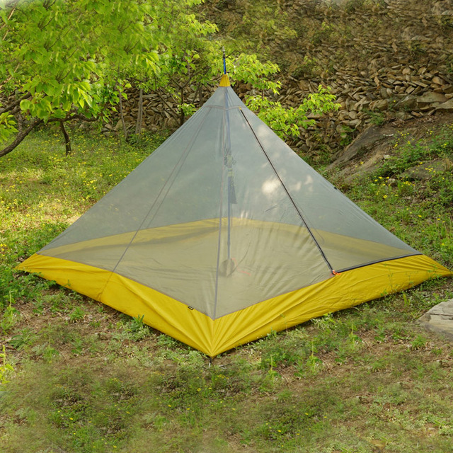 995G Camping Inner Tent Ultralight 3-4 Person Outdoor 40D Nylon Sides Silicon Coating Rodless Pyramid Large Tent Campin 3 Season 1240g camping tent ultralight 6 8 person outdoor 20d nylon both sides silicon coating rodless large space tent triangle 4 season