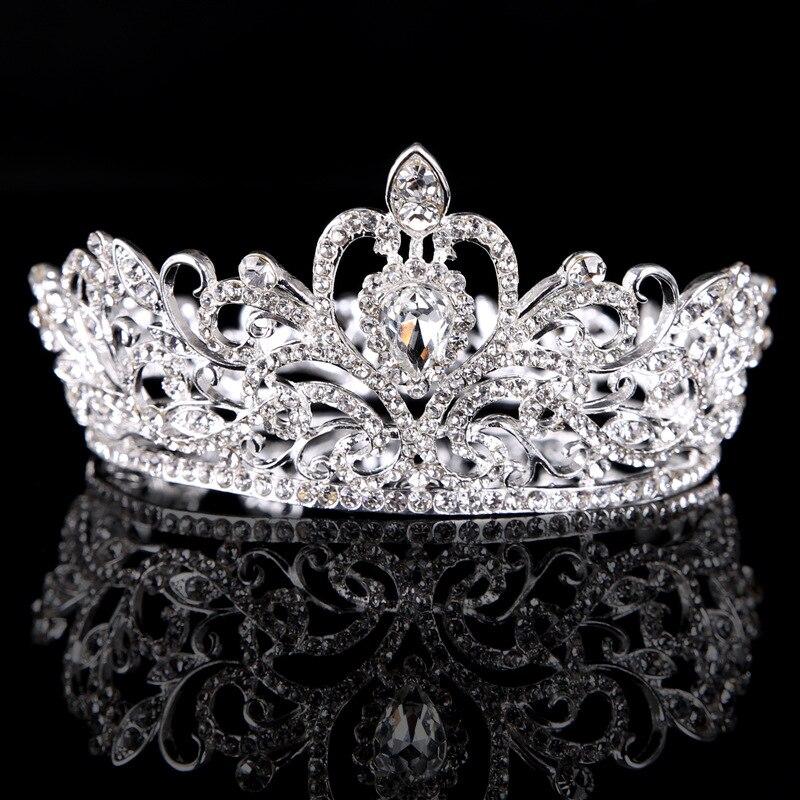 Argent cercle entier couronne princesse couronne diadèmes robe de mariée accessoires de cheveux