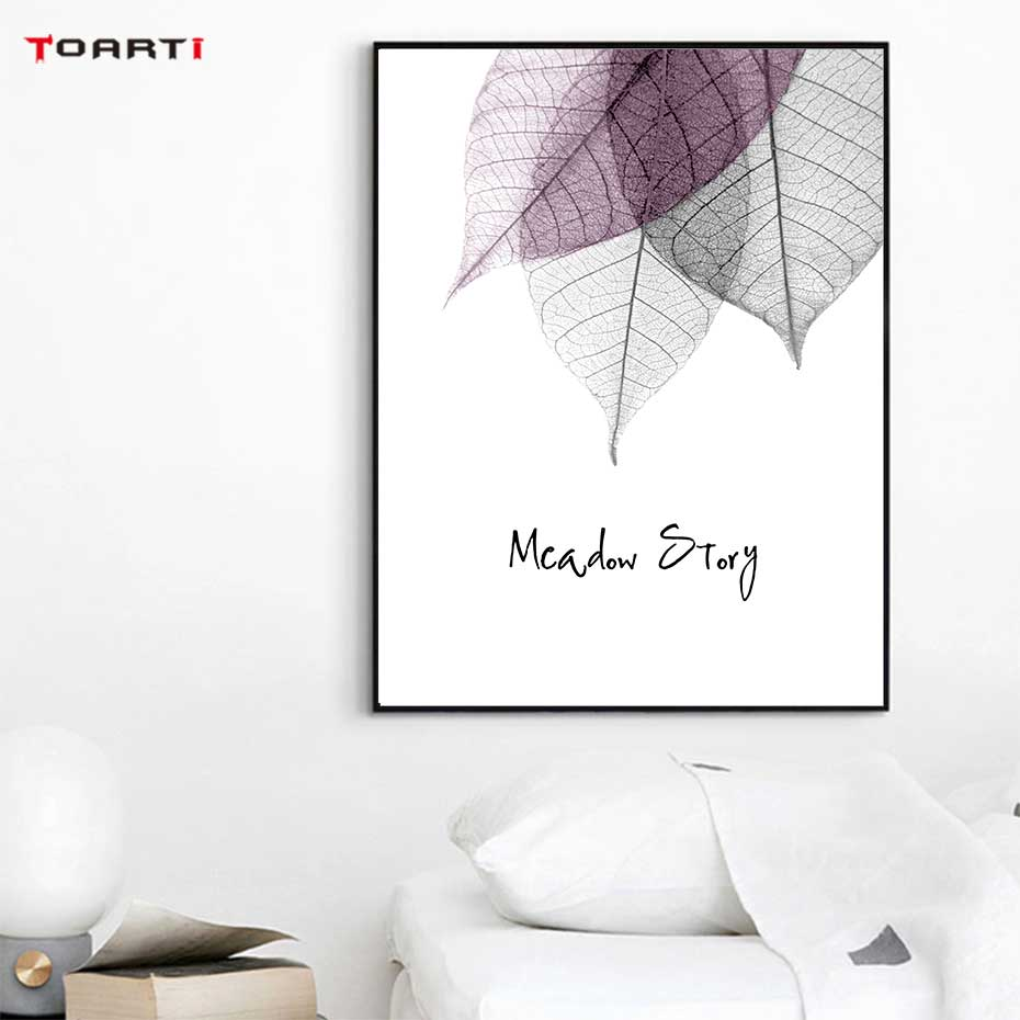 Image 5 - Watercolor Abstract Leaf Canvas Paintings On The Wall Nordic Posters Prints Minimalist Wall Art Pictures for Living Room Bedroom-in Painting & Calligraphy from Home & Garden