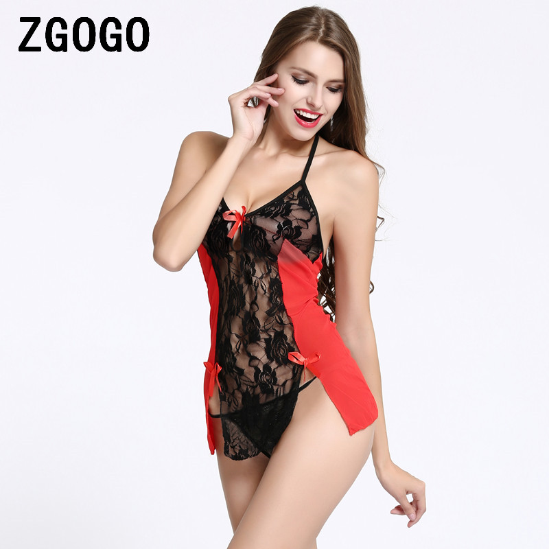 Sexy lingerie Exotic costumes women sleepwear hot See through deep v sexy underwear set lace slips Baby Dolls intimates