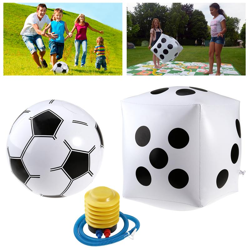 PVC Inflatable Dice Jumbo + White Inflatable Soccer Ball + Inflator Pump for Kids Adults Easy Playing Outdoor Fun & Sports