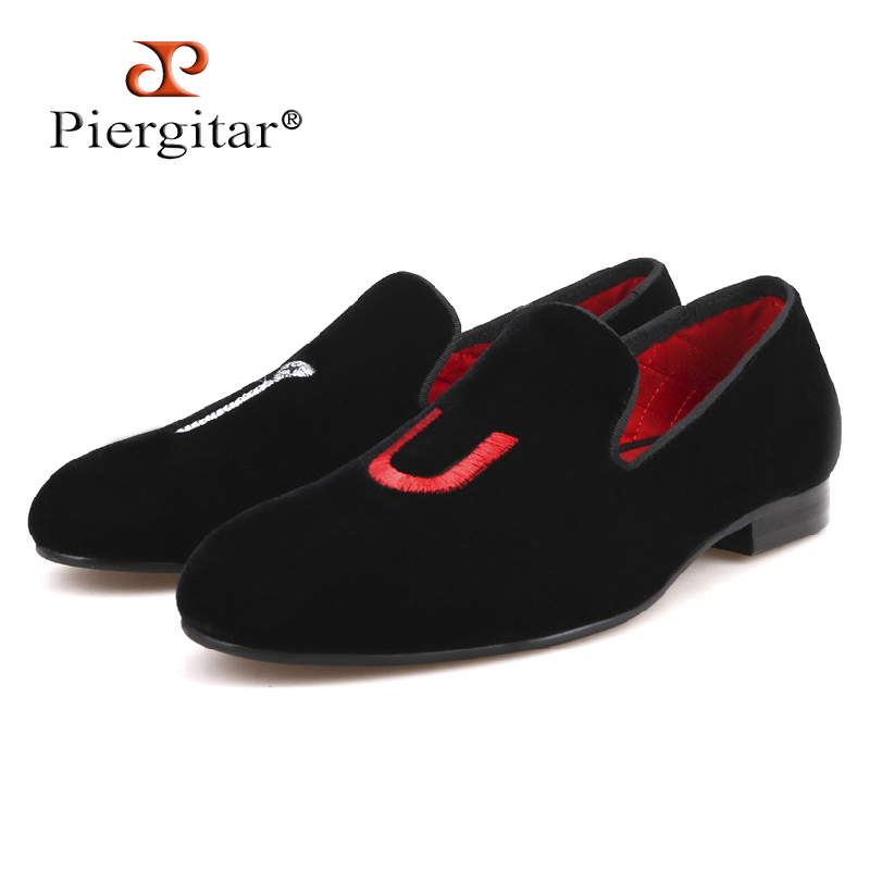 PIERGITAR 2018 new men handmade shoes TU letter embroidery smoking slippers Party and wedding men loafers plus size male flats piergitar 2017 new handmade men loafers with tie design fashion prom and banquest men smoking slippers plus size male flats