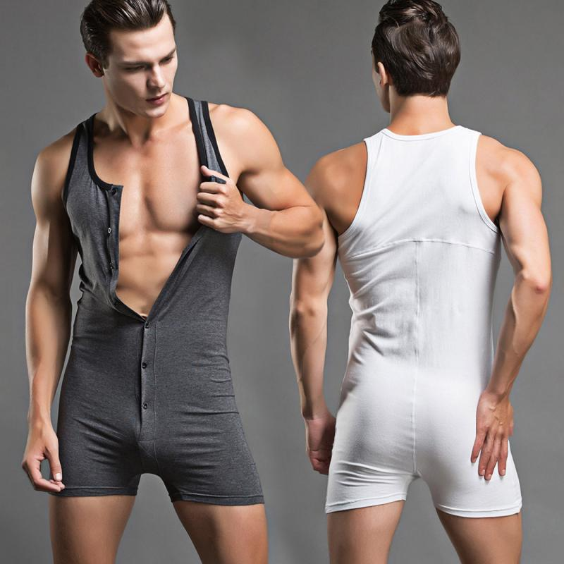 10144400e Men s Sexy One piece Elastic Cotton Fitness Jumpsuits Seamless ...