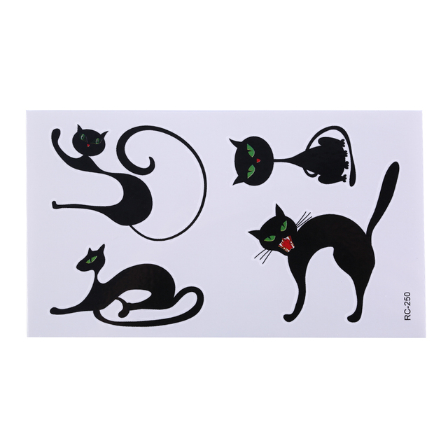 1 sheet Cute Terror Cat Temporary Tattoo Stickers Sweet Home Cat Kids Flash Tattoo Paste Waterproof Fake Tatoo Child