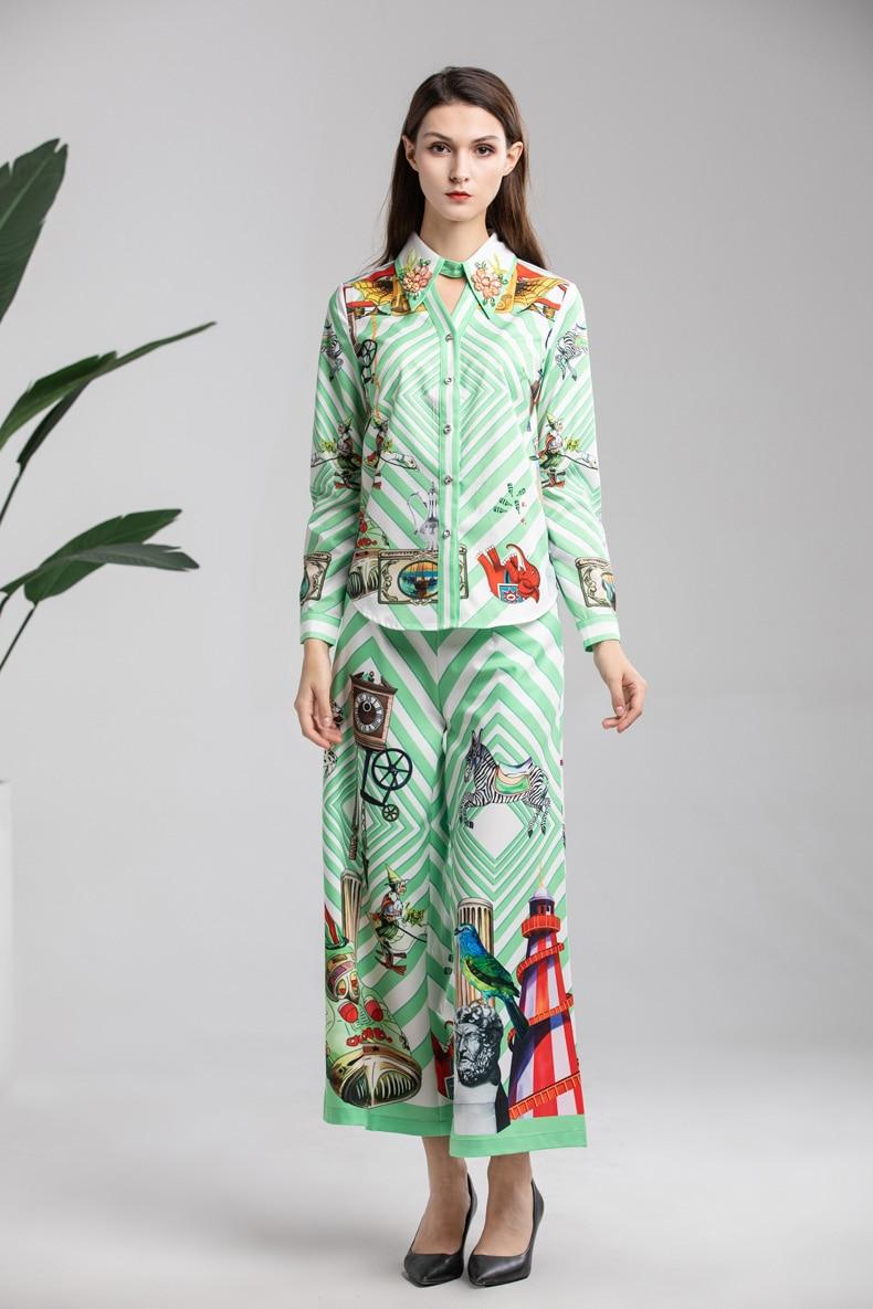 Pièces Femmes Multi Vers Appliques Pantalon Piste Twin Tournent Longues Avec De Manches Imprimé Deux Bas Chemises Floral Ensembles Designer sets Le UVSzMp