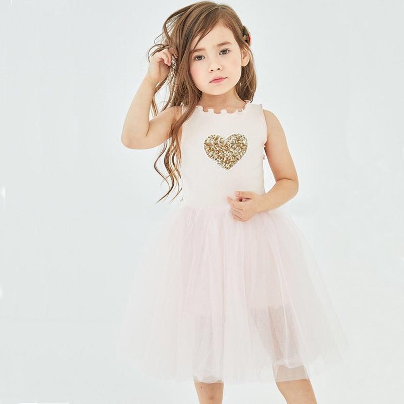Kids Dresses for Girls Summer Sleeveless Dress Girls Heart Shape Sequins Baby Princess Dress Tutu Dress in Dresses from Mother Kids