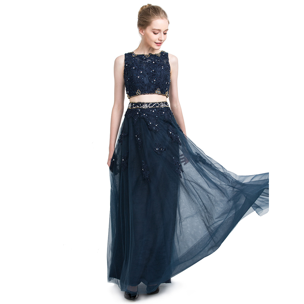 BeryLove Dark Navy Blue Two Pieces Evening Dresses 2018 Lace Evening Gowns  Long Prom Dresses Formal Evening Dresses Party Gown-in Evening Dresses from  ... 2dbaab7b4fe1