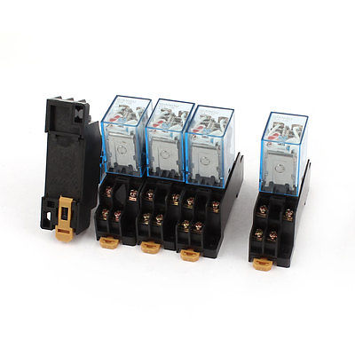 5 Pcs AC 220V-240V DPDT 8 Pins Red LED General Purpose Power Relay w Socket Base  Free Shipping hh52pl dc 220v coil 8 pins dpdt green led indicator light power relay 5 pcs free shipping