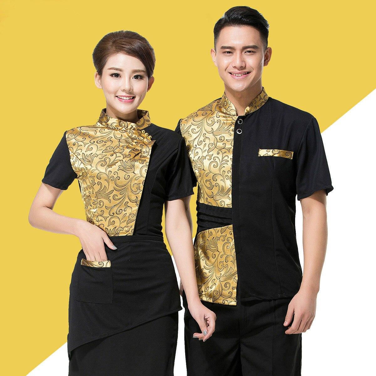 Hotel Waiter Work Clothes Summer Hot Pot Shop Staff Uniform Women Restaurant Short-sleeved Breathable Catering Overalls H2210
