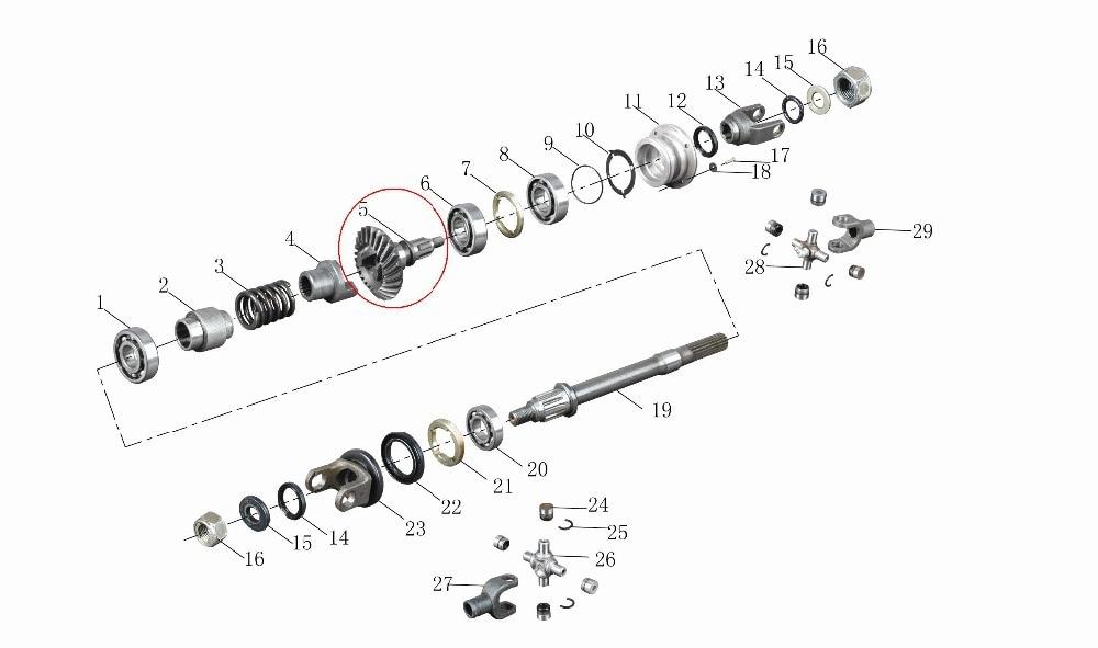 Ritzel kegelradgetriebe und welle für JIANSHE 400CC ATV YH400cc ...