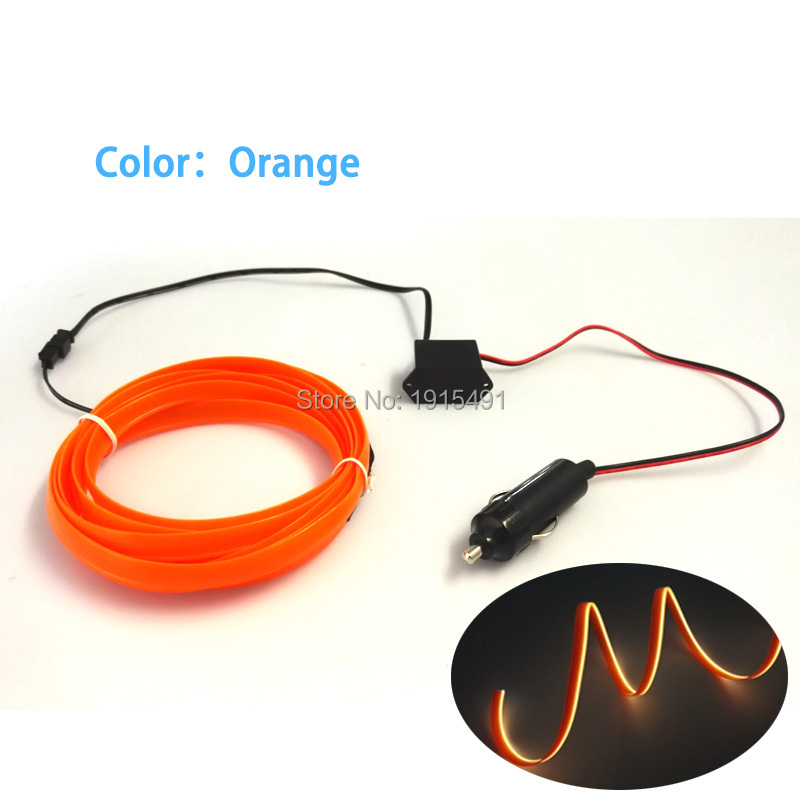 New Arrivel Colorful Orange 3Meters Kits 2.3mm Skirt Neon Glowing LED Strip Electroluminescent Wire+DC12V Steady On Converter
