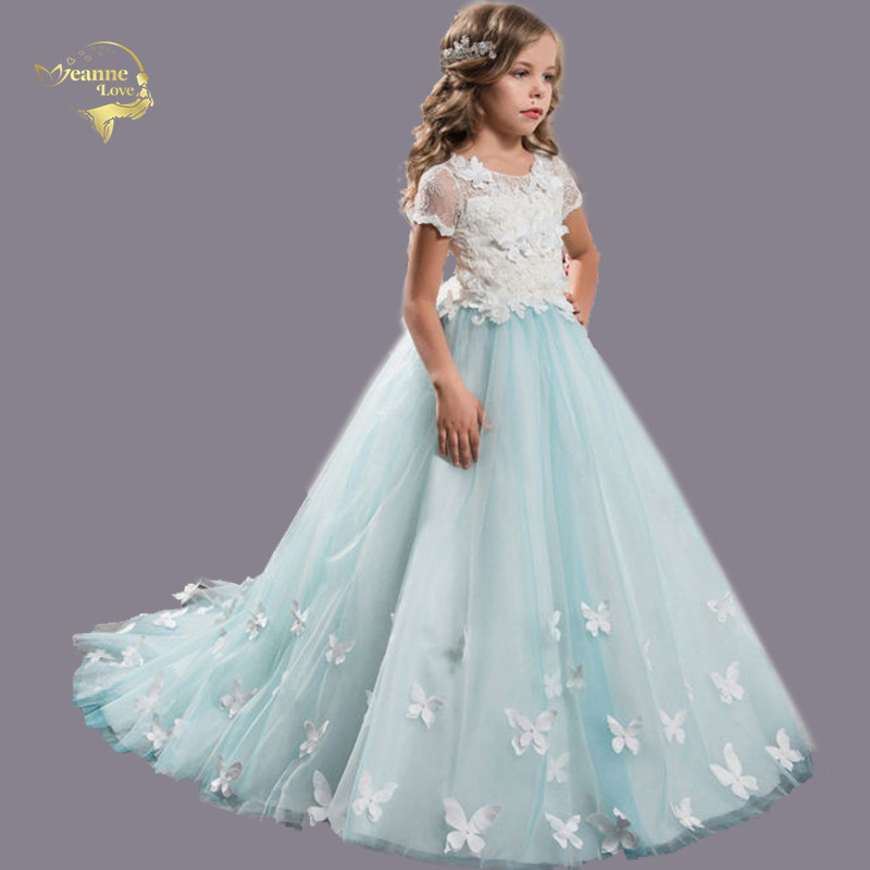 Light Sky Blue 2019   Flower     Girl     Dresses   For Weddings Ball Gown Short Sleeves   Flowers   Veil Prom   Dress   Kids Children Baby Costume