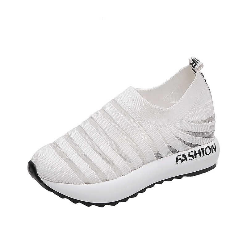 Białe buty kobieta buty 2019 letnie nowe dzikie grube dno siatki pojedyncze buty oddychające buty na co dzień płaskie buty trampki tata buty