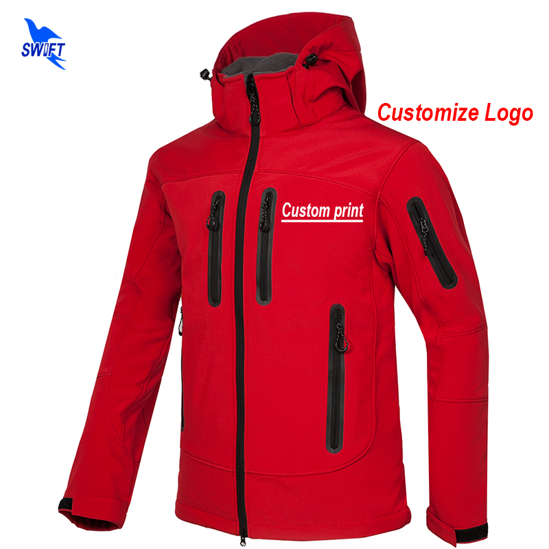 Custom Print New Softshell Jacket Men Waterproof Fleece Thermal Outdoor Hooded Hiking Coat Ski Trekking Camping Hoodie Clothing letter print raglan hoodie