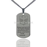 Персонализированные Имя dog tag Цепочки и ожерелья Титан выгравированным орлом кулон на мою любовь защиты Шарм Мужские письмо Цепочки и ожере...
